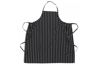 ENGLISH CHEF APRONS - BLACK/CHALK STRIPE - A100-BCS-0